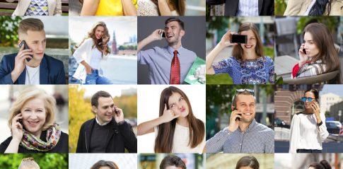 Collage. Happy People Calling By Phone