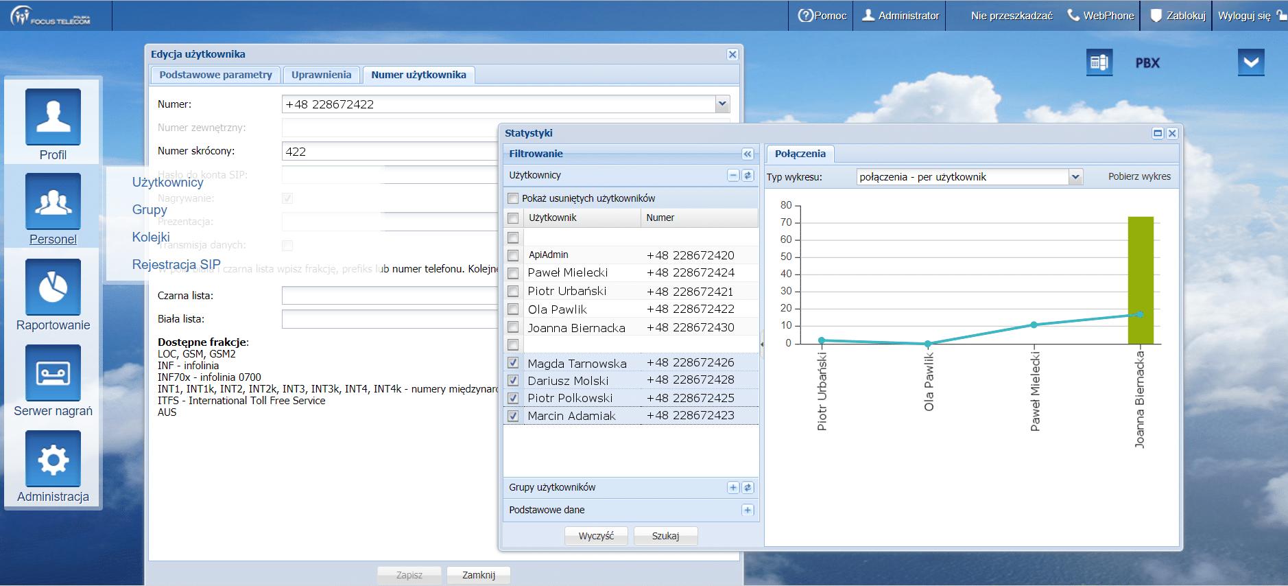 Konfiguracja centrali telefonicznej - panel konfiguracji